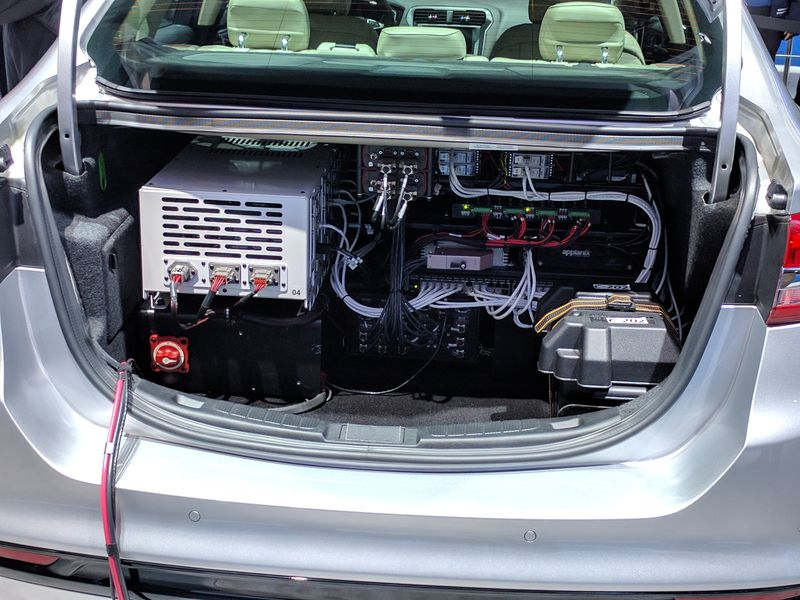 The trunk of a self-driving Ford Fusion