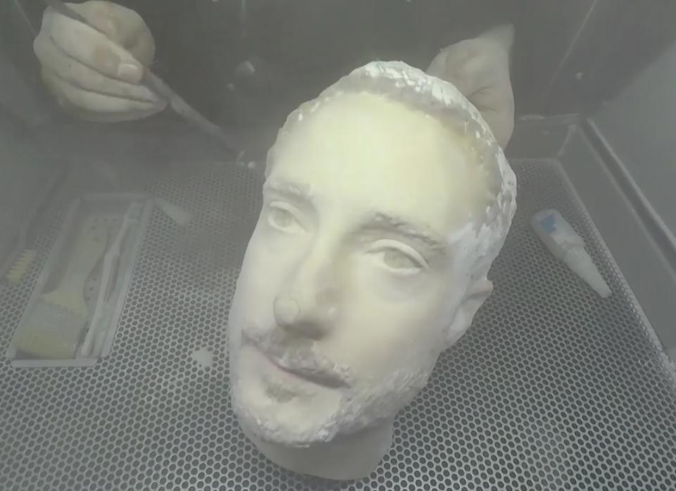 A 3D-printed head being made at the Backface studio in Birmingham, U.K.
