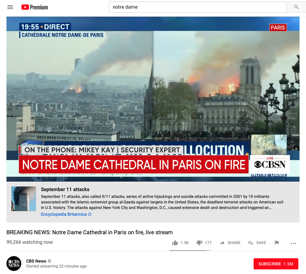 YouTube - Notre-Dame and September 11