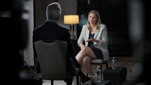 """Frances Haugen, the Facebook whistle-blower, revealed her identity on Sunday and gave an interview to """"60 Minutes."""""""